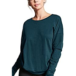 Fihapyli Women's Mesh Panel Raglan Sleeves Crew Neck T-Shirt Long Sleeve Shirt Top Activewear Comfortable Hooded T Shirts Thumb Hole Athletic Top(Jade, XXL)
