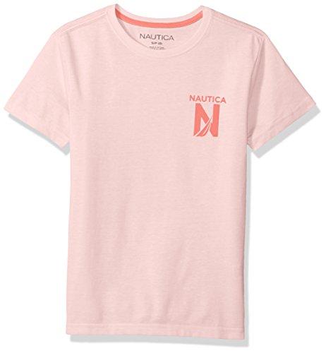 Nautica Boys' Short Sleeve Solid Crew-Neck T-Shirt, Cruise Peach, Large (14/16) (Peach Shirt For Boys)