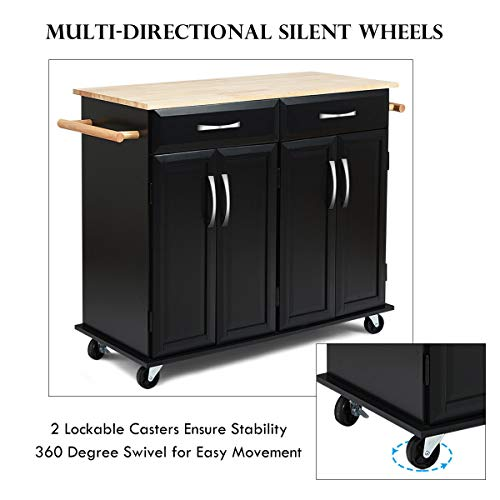 Giantex Kitchen Trolley Cart, Rolling Utility Island w/Rubber Wood Top, Large Storage Easy-Clean with Smooth Lockable Wheels Home Kitchen Carts, Black by Giantex (Image #3)