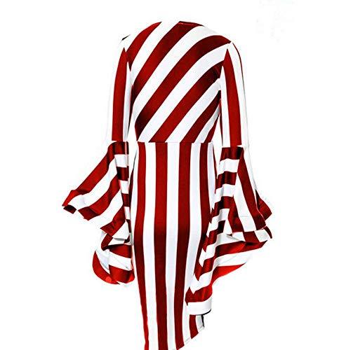 Les Femmes, Plus Yuheng Robe Taille Pour Bande De Travail, Col Rond, Manches Longues Corne Taille Midi, Robe Élégante Casual Rouge