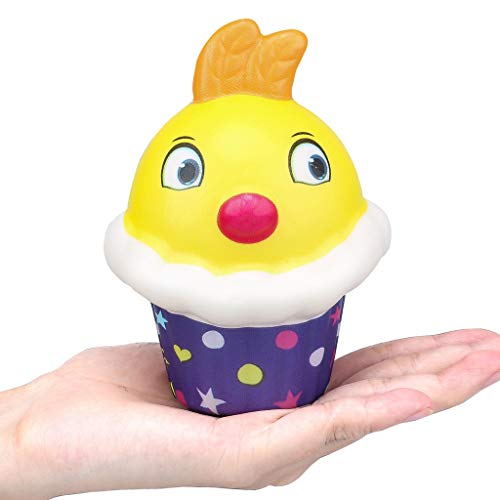 Naiflowers Squeeze Toys,Kawaii Simulation Chicken Ice Cream Cake Slow Rising Jumbo Squishy Scented Stress Relief Toys for Kids Toddler Adults, Mochi Squishies Toys Novelty Party Gifts (A)