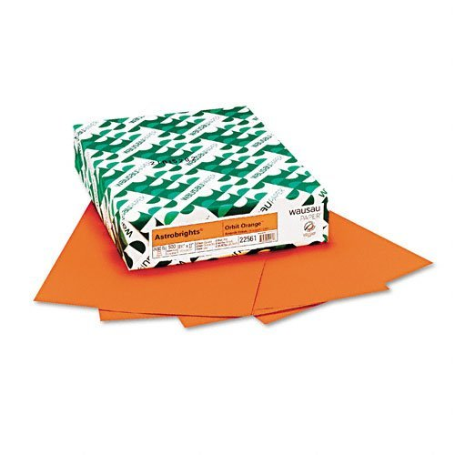 Wausau Paper : Astrobrights Colored Card Stock, 65lb, Orbit Orange, Letter, 250 Sheets -:- Sold as 2 Packs of - 250 - / - Total of 500 Each ()