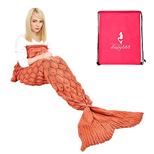 Orange Preserves Sweet - iBaby888 Wearable Mermaid Tail Blanket Crochet, All Seasons Warm Knitted Bed Blankets Sofa Living Room Quilt for Kids and Adults, Fish-Scales Pattern, 76.8