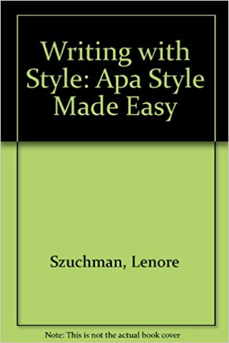 amazon writing with style apa style made easy lenore t