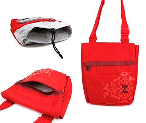 'Bright' Print Messenger/Shoulder Bag in Bright Red for EinCar 17 '' Widescreen LCD Screen Overhead Display Flip Down Monitor Portable DVD Player - by DURAGADGET