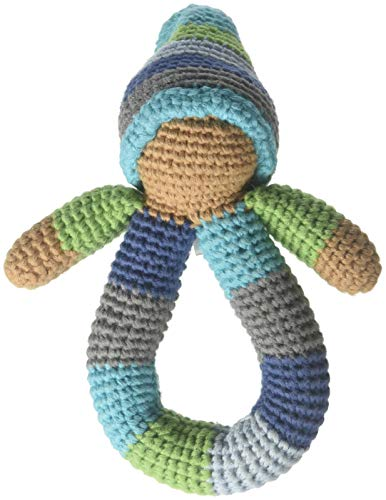 Pebble | Handmade Pixie Ring Rattle - Blue | Crochet | Fair Trade | Pretend | Imaginative Play | Montessori | Machine - Waldorf Doll Fair Trade
