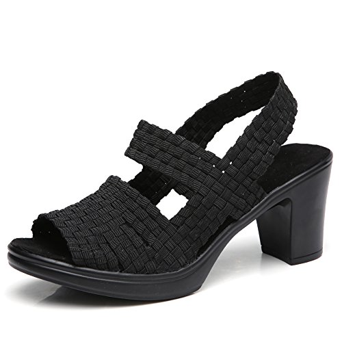 - Womens Chunky Block Heeled Platform Sandals Summer Wide Width Elastic Woven Slingback Pumps Shoes Black 5.5(YL801heise35)
