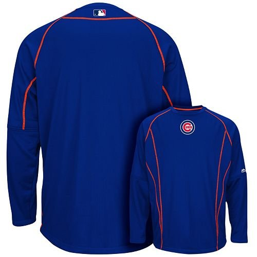 Chicago Cubs MLB Men's Therma Base On-Field Practice Pullover Fleece - Blue (XLT) (Therma Sweatshirt Base)