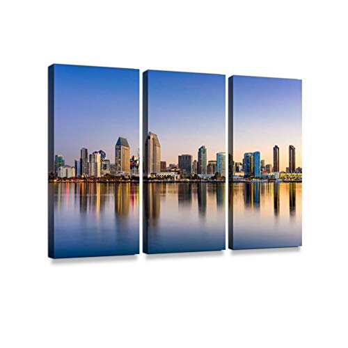 (San Diego Skyline Print On Canvas Wall Artwork Modern Photography Home Decor Unique Pattern Stretched and Framed 3 Piece)