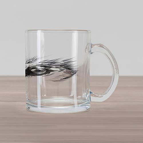 Lunarable Face Glass Mug, Majestic Wolf Eye Themed Composition with Sketch Style Arrangement Woodland Fauna, Printed Clear Glass Coffee Mug Cup for Beverages Water Tea Drinks, Pale Grey White