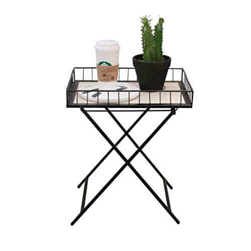 WGYDREAM End Side Tables, Sofa Table, Foldable Wrought Iron Small Coffee Table Side Table, Simple Portable Bedroom Living Room Balcony Study Sofa Table Snack Table (Wrought Telephone Table Iron)