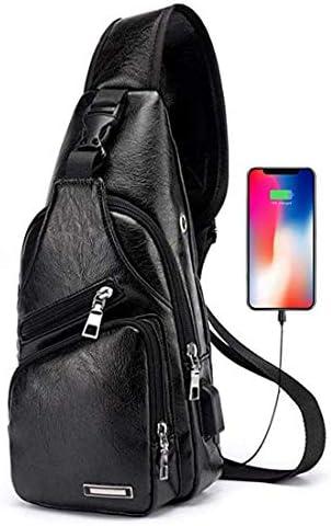 Men's Large Leather Sling Backpack Chest Shoulder Crossbody Bag with USB Charging Port Large Black