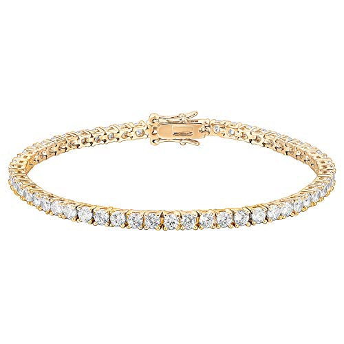 PAVOI 14K Gold Plated Cubic Zirconia Classic Tennis Bracelet   Yellow Gold Bracelets for Women   7.5 Inches