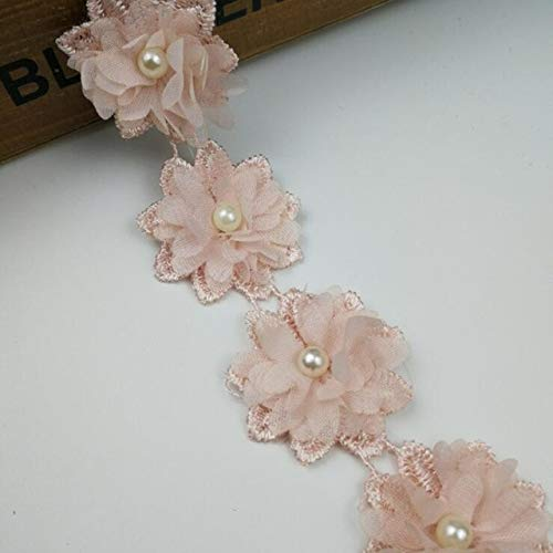 Laliva Rose Flower Pearl Chiffon Embroidered Lace Trim Ribbon Fabric Sewing Craft Patchwork Handmade DIY for Costume Decoration - (Color: ()