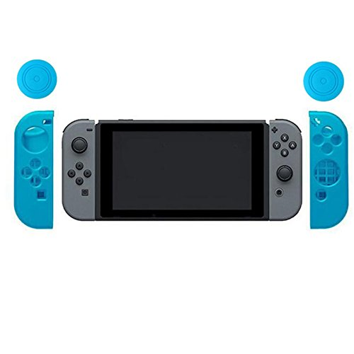 Etbotu Soft Silicone Anti-Slip Shockproof Protective Cover Case + 2 Thumbstick Grips Joystick Caps Coverfor Nintend Switch Joystick