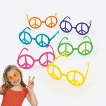 Peace Glass - Fun Express Plastic Peace Sign Glasses 12 per pack