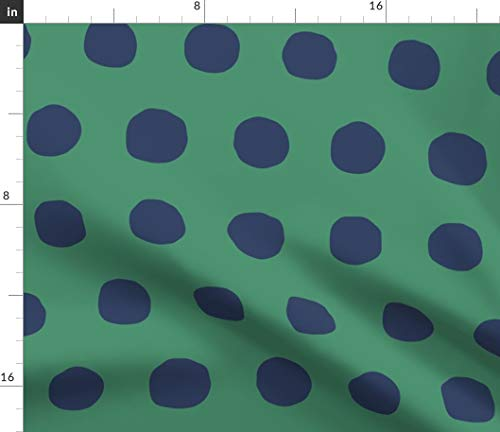 Spoonflower Decor Fabric - Polka Dots Upholstery Green Navy Dress Skirt by Domesticate Printed on Satin Fabric by The Yard ()