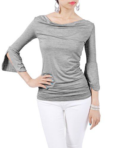 H2H Womens Cowl Neck Ruched Double Layer Top T-Shirts HeatherGray US 2XL/Asia 2XL (CWTTL0178)
