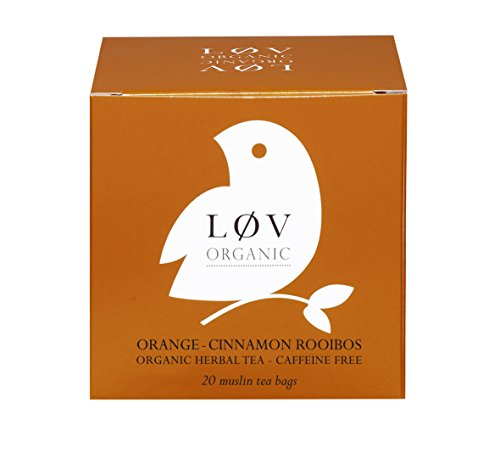 Løv Organic Orange Cinnamon Rooibos Tea - Orange Peels, Cinnamon, Lemon, Vanilla, and Seabuckthorn Organic Caffeine-free Infusion Perfect for Tea Lovers (20 Muslin Tea Bags 20 Servings)