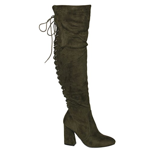 Side Women's Boots up Zipper Olive Knee Over Half Small Lace Size BESTON FM30 High BSqIwxf1zF