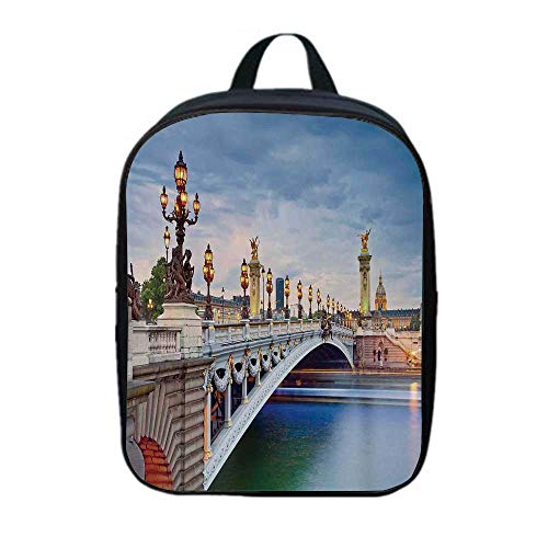 Paris Decor Fresh Backpack,Paris the Alexandre III Bridge Located in Paris France and Sculptures Statue Urban for Daily Leisure,One_Size