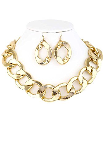 CN0129 WOMEN'S FASHION SIMPLE LARGE SIZE BIG CHAIN LINK NECKLACE AND EARRINGS SET (GOLD)