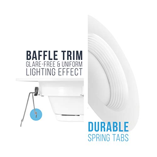Parmida (12 Pack) 5/6 inch Dimmable LED Downlight, 12W (100W Replacement), Baffle Design, Retrofit Recessed Lighting, Can Light, LED Trim, 3000K (Soft White), 1000lm, Energy Star & ETL by Parmida LED Technologies (Image #6)