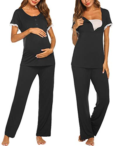 Ekouaer Pregnant Women Fashion Lace Trim Tops Adjustable Drawstring Pants Set Home Suit for Women(Black/L)