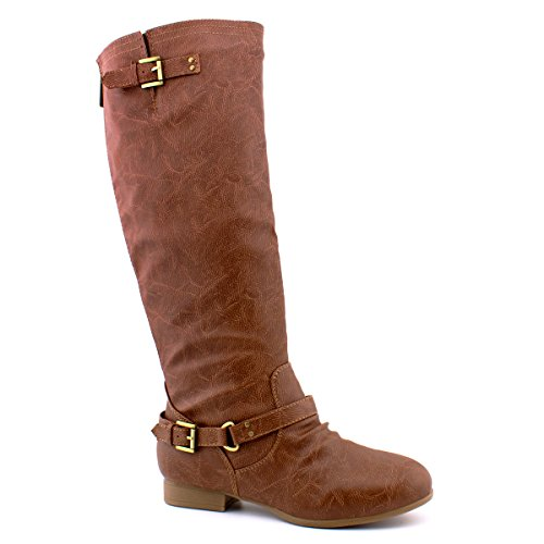 Tan Standard Womens Boots (Premier Standard Women's Lace-Up Strappy Knee High Combat Stacked Heel Boot, TPS Coco-1 v25 Tan Size 8.5)