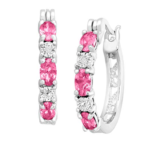 - Created Pink Sapphire Hoop Earrings with Diamond Accents in Platinum-Plated Brass