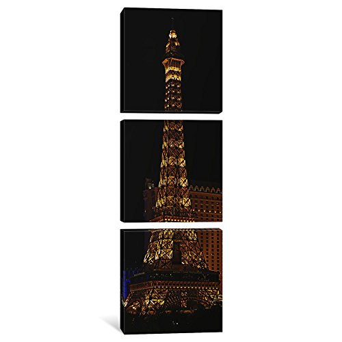 Eiffel Paris Tower Las Vegas (iCanvasART 3-Piece Replica of The Eiffel Tower Lit up at Night, Paris Las Vegas, Las Vegas, Nevada, USA Canvas Print by Panoramic Images, 1.5 by 16 by 48-Inch)