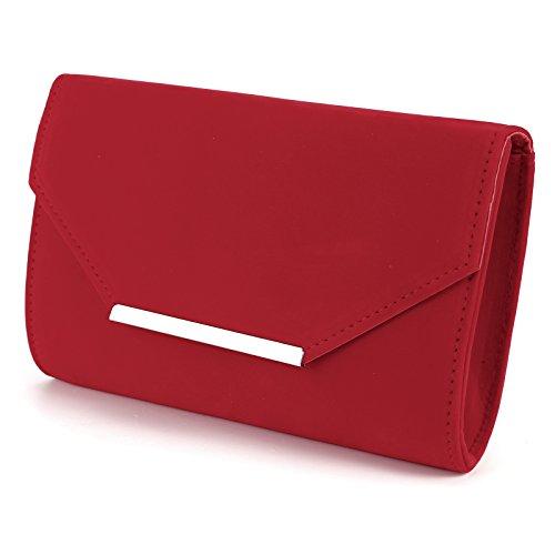 Silver Shoulder Women with Red Chain Bag Trim Clutch Prom Evening Handbag Ladies Velvet Suede Purse Envelope Faux nqx6rU0qwP