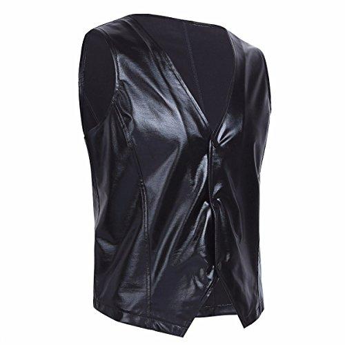 Vernice Costume Giubbotto Bagnato Tiaobug Sguardo Elegante Partito Nero Clubwear Mens Top pwgqx8xE