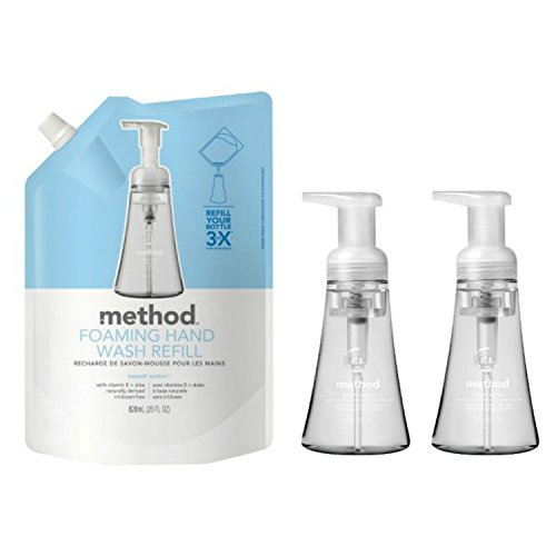 (Method Foaming Hand Soap Sweet Water Bundle Includes: 28 OZ. Refill & Two 10 OZ. Dispensers)