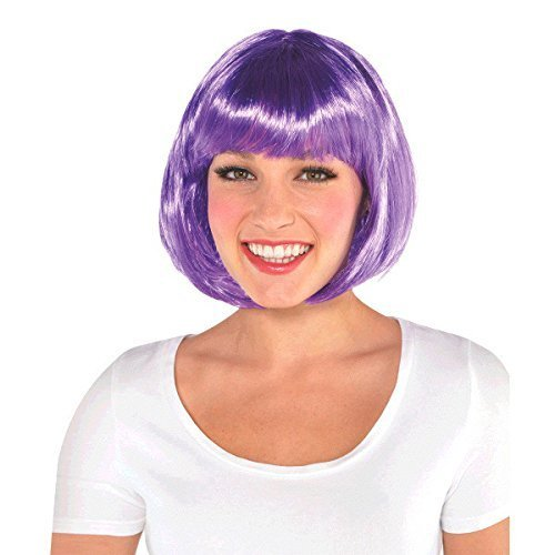 AMSCAN Bob Wig Halloween Costume Accessories, Purple, One Size ()