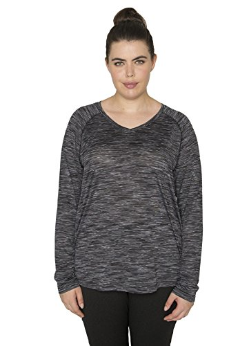 RBX Active Women's Plus Size Space Dye Pattern Raglan Sleeve Tee Shirt Black 2X