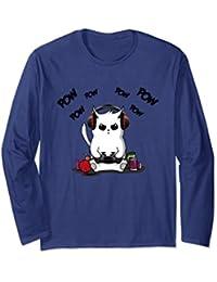 Gamer Cat Long Sleeve T-Shirt Cute Cat Gaming Shirt