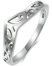BORUO 925 Sterling Silver Ring Filigree Thumb Chevron High Polish Comfort Fit Band Ring
