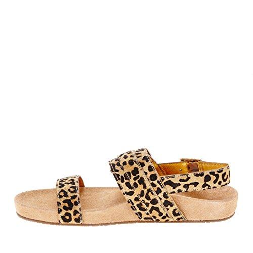 Vionic Womens 342 Samar Leather Sandals Tan Leopard