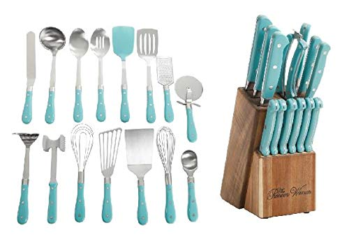 The Pioneer Woman Frontier Collection 15-Piece All In One Tool and Gadget Set in Turquoise & Cutlery Set 14-Piece in ()