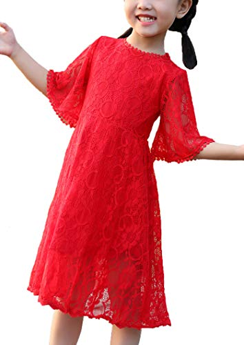 Youwon Flower Girl Lace Dress Baptism Wedding Pageant Gown First Communion Country Dress 2-6 7-16 Red]()