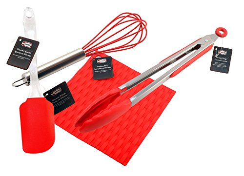 Silicone Whisk, Tongs, Spatula, Pot Holder Combo - Dishwasher Safe - Heat Resistant up to 428ºF - Silicone Kitchen Supplies and Utensils by Ai-De-Chef (4-Pack, Red)