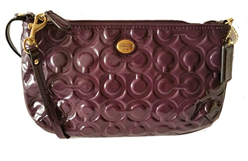 Coach Peyton Embossed Patent Leather Large Wristlet Clutch Wallet Purple by Coach