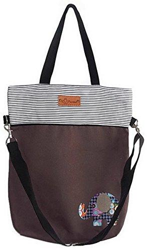 Two Tone Elephant Design - Two-Tone Canvas Tote Shoulder Bag Crossbody Purse Messenger Bag - Brown and Stripe with Elephant Applique Design