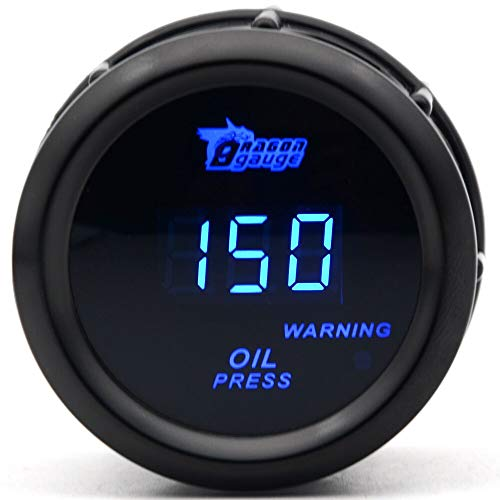 Carvicto - DRAGON GAUGE 2'' 52MM Oil Pressure Gauge Black Color Digital Blue Led 0-150PSI