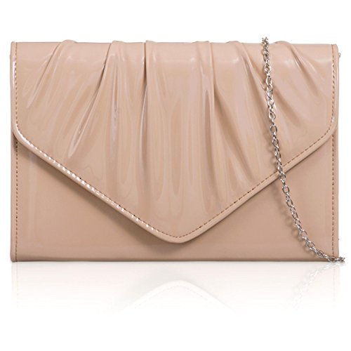 Ladies Medium Vinyl Bag Clutch Patent London Xardi Evening Envelope Nude Leatherette Women Wedding wpqn0aO