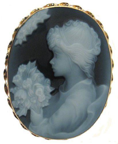 - 18k Gold Agate Stone Cameo Pin Pendant Italian Laser Carved