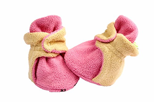 Anti-slip Unisex Soft Organic Cotton Baby Booties for 3 to 6, 6 to 12 and 12 to 18 Months Old Boys and Girls (3-6 Months, Pink)