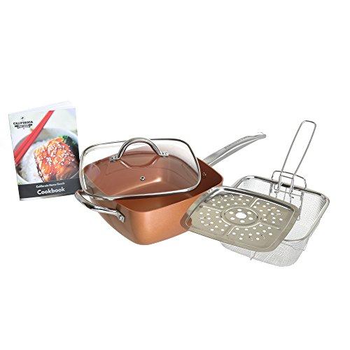 "6-in-1 Cooking Set, Versatile 9.5"" Square Copper Pan with Lid, Fry Basket, & Steamer, for Frying, Baking, Sautéing, Roasting, Stir-Fry, Oven Safe, Dishwasher Safe, By California Home Goods"