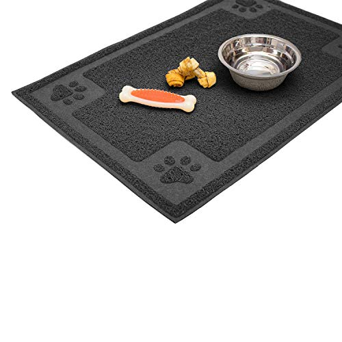 Cavalier Pets, Dog Bowl Mat for Cat and Dog Bowls, Silicone Non-Slip Absorbent Waterproof Dog Food Mat, Easy to Clean, Unique Paw Design (Medium (24-Inch), Black) (Placemats Black Slate)